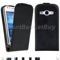 Toc piele neagra husa flip Samsung Galaxy Ace 3 + folie protectie ecran + expediere