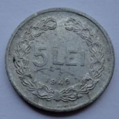 Monede Romania - 5 lei 1949 - 4 - LUCIU DE BATERE