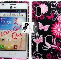 HUSA FLORAL - LG OPTIMUS L5 - FOLIE ECRAN - Husa Telefon LG, Universala, Alb