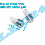 LED-URI AUTO BEC LED - W5WT10 1 SMD HIGH POWER 3W CU LUPA POZITIE, PLAFONIERA - Led auto Houde, Universal