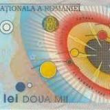 Bacnota eclipsa 2 000 lei din anul 1999, in stare buna, cu serie unica