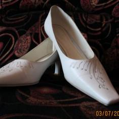Pantofi de mireasa - mar 40 - Pantofi dama, Culoare: Alb, Alb