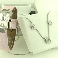 Ceas dama Pierre Cardin Elegant Roz cu Set de Bijuterie Cadou Colier Cercei, Quartz, Inox, Piele, Analog