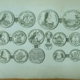 Colectii - Gravura circa 1820 monede Ungaria Imparateasa Maria Tereza Imparatul Francisc I Arhiducesa Ioana Gabriela