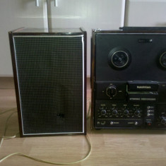 Vand Magnetofon Kashtan + 1 boxa (produs original) functionabil, in stare foarte buna, are nevoie de doua benzi, eu l-am folosit pe post de statie .