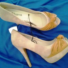 Pantofi dama, Marime: 40, Nude - PANTOFI ELEGANTI CU PLATFORMA SI TOC NUDE / BEJ / MARO DESCHIS DECUPATE, MARIMEA 39-40, NOI