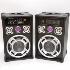SISTEM BOXE CU AMPLIFICARE SI MIXER INCORPORAT, ORGA LUMINI, 250 WATT, RADIO+2 MICROFOANE BONUS.