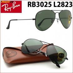 Ochelari de soare Ray Ban, Unisex, Verde, Pilot, Metal, Protectie UV 100% - Ochelari RayBan 3025 Rama Neagra lentila Verde