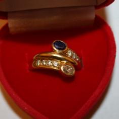 Inel superb 18k cu safir si diamante - Inel aur
