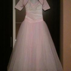 Vand rochie de mireasa alb roz, marimea 36 - Rochie de mireasa printesa