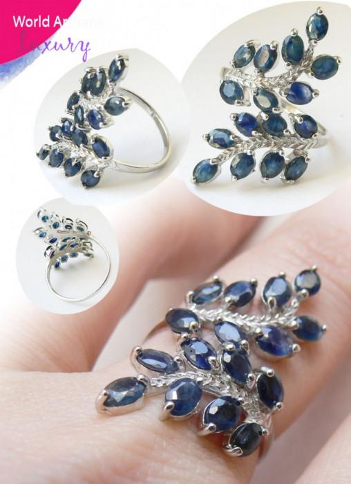 Natural Blue African Sapphire Fern Leaf Sterling Ring - Inel SAFIR ALABASTRU NATURAL African, Argint 925 foto mare