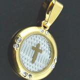 PANDANT CRUCE AUR FILAT 14 K CU ZIRCONIU ALB - Pandantiv aur