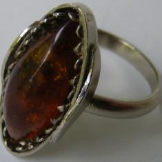 Inel argint - Inel vechi din argint cu chihlimbar (8) - de colectie