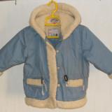 Geaca fetite toamna - iarna, 2-3 ani/86 - H & M, bleu, cu gluga, (masuratori)