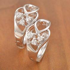 Cercei aur alb filat 9k cu cristale zirconiu GFE1059