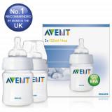 Set 2 biberoane Philips Avent Airflex 125 ml echipate cu tetine pentru nou-nascuti recomandate de la nastere 0 luni + / Fara BPA / Biberoane bebelusi