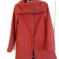 Palton Vera Amarini, nou, caramiziu, captuseala animal print - Palton dama, Marime: 38, Culoare: Bordeaux