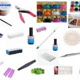 kit / set complet manichiura / unghii false / lampa uv / geluri / primer