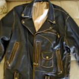 Geaca de piele, imprimeu cu Michael Jackson - Geaca barbati, Marime: M, Culoare: Maro