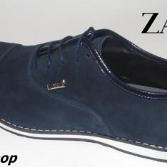 Pantofi barbati - Pantofi ZARA 100% Piele Intoarsa Model NOU de Sezon - Negru / Bleumarin !!!