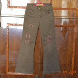 Haine Copii 7 - 9 ani, Pantaloni, Fete - Pantaloni maro cu cusaturi