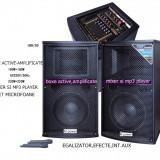 2 BOXE ACTIVE/AMPLIFICATE , MP3 PLAYER +2 MICROFOANE WIRELESS+telecomanda.NOI.