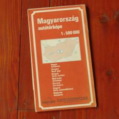 Harta rutiera Ungaria - Magyarorszag autoterkepe - perioada comunista anii 70 - 80 !!!