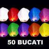 Set 50 Lampioane zburatoare colorate sky lanterns . Oferta Promotionala evenimente festive Nunti Botezuri Petreceri Aniversari