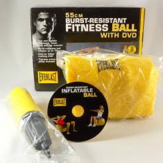Everlast - minge pentru fitness si aerobic - 55 cm diametru - cu pompa si DVD pentru exemplificarea exercitiilor - - Minge Fitness
