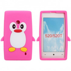 Husa silicon pinguin Nokia Lumia 520 + folie protectie ecran + transport gratuit Posta - sell by Phonica
