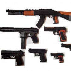 Arma Airsoft - MEGA SET 7 AIRSOFT COMPUS DIN PUSCA AK47, TRANCAN, 5 PISTOALE+5000 BILE BONUS.