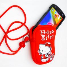 Husa universala HELLO KITTY, husa neopren pentru telefon, aparat foto portofel - Husa Telefon, Rosu