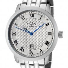 Ceas Rotary Round Steel Bracelet Watch GB42825/01 - Ceas barbatesc Rotary, Casual, Quartz, Inox, Fibra de carbon, Fazele lunii