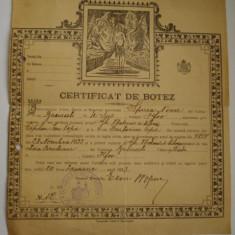 Pasaport/Document, Romania 1900 - 1950 - CERTIFICAT DE BOTEZ - 1923