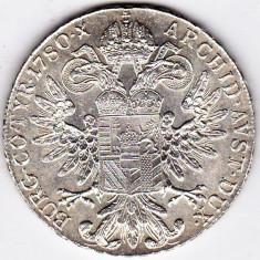 Monede Straine - 2) Austria Taler Thaler Maria Tereza Theresa S.F.=rebatere postuma dupa 1780 argint 28 grame, 40 mm, a.UNC/UNC