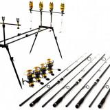 Kit 4 Lansete Oxygen Rod Pod Echipat Cu Avert Si Swingeri  Mulin Diamant 9 Rulm