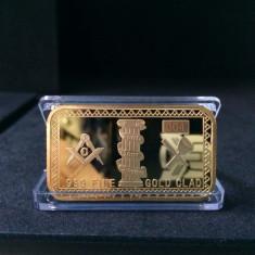 Medalii Straine - Lingou Masonic placat cu aur 24k - Freemason Masonice - Echer compas - CADOU Initiere