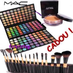 Trusa machiaj profesionala 180 culori nuante paleta farduri + set 15 pensule make up machiaj BOBBI BROWN + CADOU baza machiaj prep + prime MAC - Trusa make up