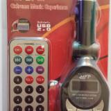 Modulator FM /MP3 cu Telecomanda, Ecran LCD, Slot SD/MMC