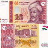 Bancnota Straine, Asia - TADJIKISTAN 10 somoni 1999 UNC!!!