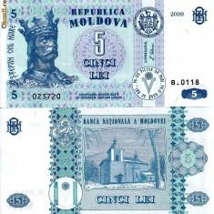 MOLDOVA 5 lei 2009 UNC!!! - bancnota europa