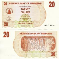 ZIMBABWE 20 dollars 2006 BEARER CHEQUE UNC!!! - bancnota africa