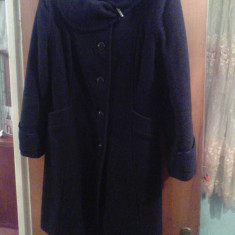 Palton gros de iarna culoare neagra pt dama femei fete marimea 44 L 50% lana - Palton dama, Culoare: Negru