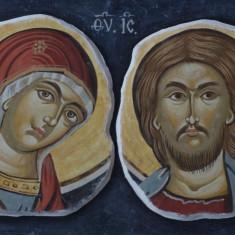 Icoana portret Isus Hristos si Maica Domnului cu rama din lemn - fragment fresca pictura Bizantina !!! - Icoana pe lemn