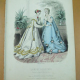 Moda costum rochie evantai gravura color La mode illustree Paris 1867 - Revista moda