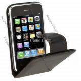 Husa toc din piele foarte rezistenta iPhone 2 3 + folie ecran - Husa Telefon Apple, iPhone 3G/3GS, Negru