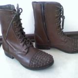 Botine BAKERS by asos, cizme maro tinte stil rock punk zara bocanci piele naturala, 38, sireturi, noi superbe
