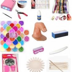 Kit / set manichiura, lampa uv unghii false sclipici, bilute, catifea gel uv