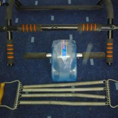 Set bodybuilding culturism fitness piept abdomen tractiuni extensoare ad roller gantere discuri
