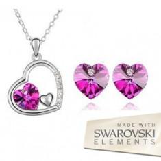 Set bijuterii -Heart-Cristal tip Swarovski Elements, placat cu aur alb 18 k - Set bijuterii placate cu aur Energie